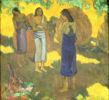 Reproducción de arte Three Tahitian Women against a Yellow Background, 1899