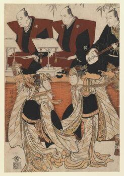 Obrazová reprodukce Two actors as Iwai Hanshiro IV and Segawa Kikunojo III in the 'Karukoma' dance, accompanied by Joruri recitation, c.1783