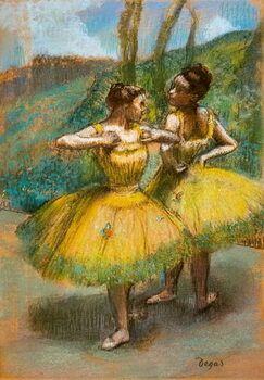 Kunsttryk Two dancers in yellow. Around 1896. Pastel and charcoal on two strips of paper.