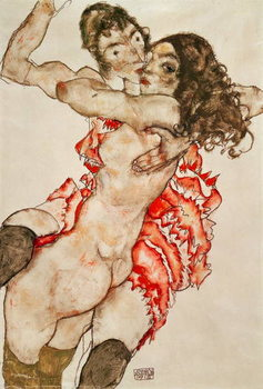 Two Women Embracing, 1915 Reproduction de Tableau