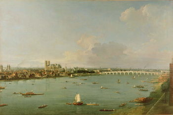 View of the Thames from South of the River Kunsttryk