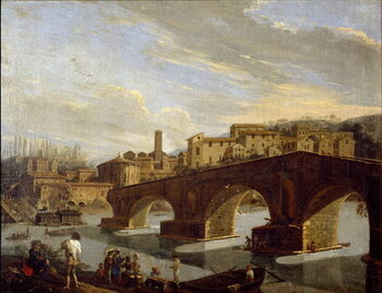 Obrazová reprodukce View of the Tiber at the level of the break bridge in Rome Painting by Gaspare Vanvitelli (Gaspar van Wittel, Caspar Van Vitelli)  Dim 39,5x51 cm Milan, Galleria d'Arte Moderna