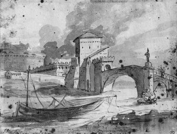 Reprodukcja View of the Tiber near the bridge and the castle Sant'Angelo in Rome