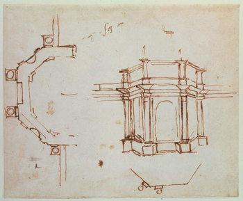 Reproducción de arte  W.24r Architectural sketch