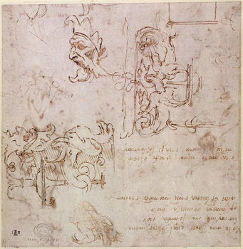 Reproducción de arte  W.3v Roughly sketched designs for furniture and decorations