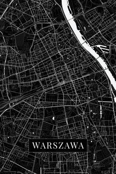 Mapa Warszawa black