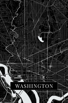 Mapa Washington black