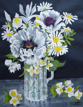 Obrazová reprodukce  White Poppies, Marguerites and Philadelphus,
