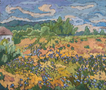 Wild Flowers on the Dyke Bank  60*70 cm,oil on board Reproduction de Tableau