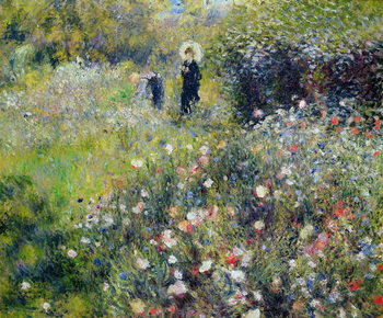 Woman with a Parasol in a garden, 1875 Reproduction de Tableau