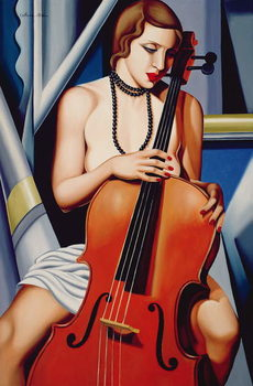 Woman with Cello Kunsttryk