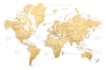 World map with labels in Spanish, gold effect Térképe