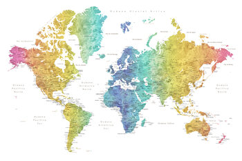 World map with labels in Spanish, rainbow watercolor Térképe