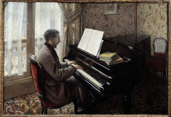 Obrazová reprodukce Young man playing piano. Painting by Gustave Caillebotte , 1876. Oil on canvas. Private collection. - Young man playing the piano. Painting by Gustave Caillebotte , 1876. Oil on canvas. Private collection