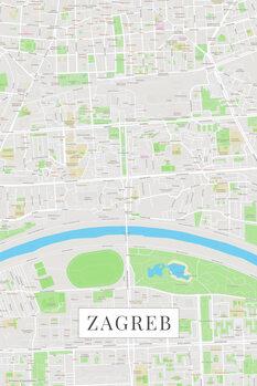 Mapa Zagreb color