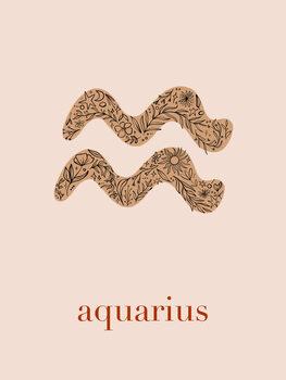 Ilustrace Zodiac - Aquarius - Floral Blush