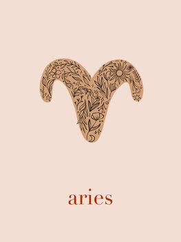Illustrazione Zodiac - Aries - Floral Blush