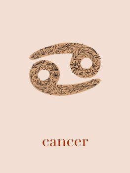 Ilustratie Zodiac - Cancer - Floral Blush