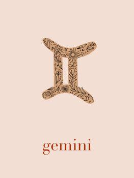 Ilustratie Zodiac - Gemini - Floral Blush