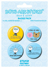 BOYS ARE STUPID Badges pakke