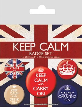 Keep Calm and Carry On Badges pakke