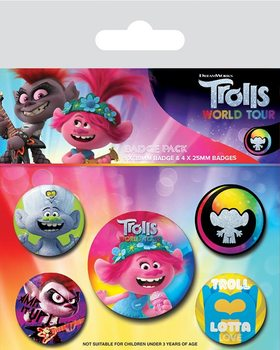 Set de badges Les Trolls 2: tournée mondiale - Powered By Rainbow