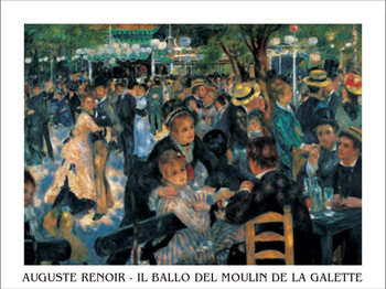 Εκτύπωση έργου τέχνης  Bal du moulin de la Galette - Dance at Le moulin de la Galette, 1876