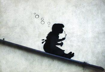 Banksy street art - Graffiti Girl Sliding - плакат (poster)