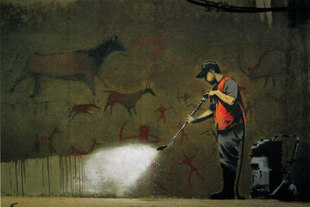 Banksy Street Art - Street Cleaner плакат