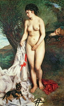 Bather with a Griffon dog, 1870 Festmény reprodukció