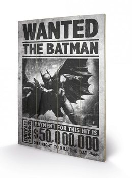 Batman Arkham Origins - Wanted plakát fatáblán