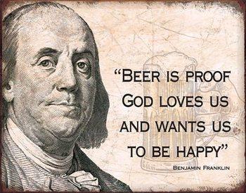Ben Franklin - Beer Metalen Wandplaat
