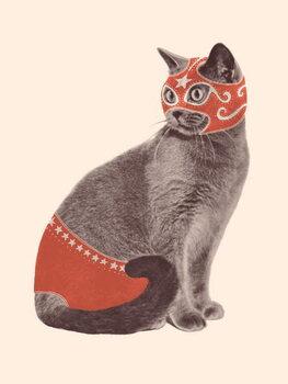 Canvastavla Cat Wrestler