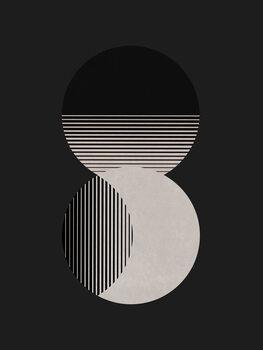 Canvastavla Circle Sun & Moon BW