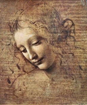 Canvastavla Head of a Young Woman with Tousled Hair or, Leda