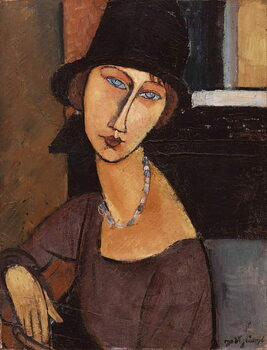 Canvastavla Jeanne Hebuterne wearing a hat