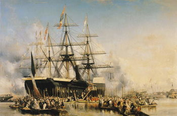 Canvastavla King Louis-Philippe (1830-48) Disembarking at Portsmouth, 8th October 1844, 1846