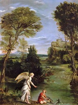 Canvastavla Landscape with Tobias laying hold of the Fish, c.1615