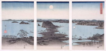 Canvastavla Panorama of Views of Kanazawa Under Full Moon, from the series 'Snow, Moon and Flowers', 1857