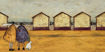 Canvastavla Sam Toft - Looking Through The Gap In The Beach Huts