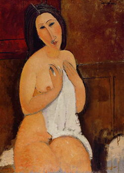 Canvastavla Seated Nude with a Shirt