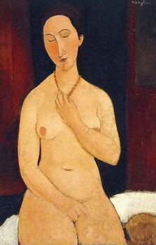 Canvastavla Sitting Nude with Necklace