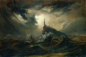 Canvastavla Stormy sea with Lighthouse