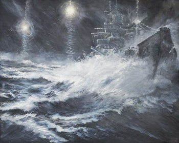 Canvastavla Surprised By Starshell Scharnhorst at North Cape, 2008,