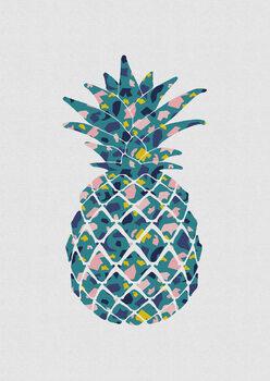 Canvastavla Teal Pineapple