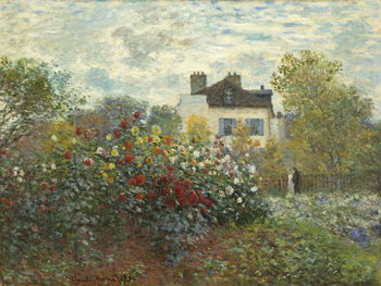 Canvastavla The Artist's Garden in Argenteuil (A Corner of the Garden with Dahlias), 1873