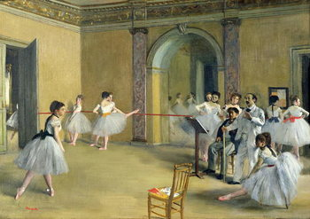 Canvastavla The Dance Foyer at the Opera on the rue Le Peletier, 1872