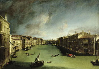 Canvastavla The Grand Canal, View of the Palazzo Balbi towards the Rialto Bridge