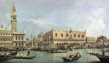 Canvastavla The Molo and the Piazzetta San Marco, Venice