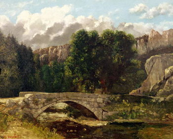 Canvastavla The Pont de Fleurie, Switzerland, 1873
